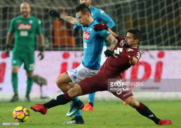 STADIUM TORINO PIEMONTE ITALY Napoli's Slovakian midfielder Marek Hamsik fights for the ball with Torino's Venezuelan midfielder Tomas Rincon during...