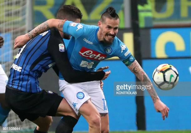 STADIUM MILAN LOMBARDIA ITALY Napoli's Slovakian midfielder Marek Hamsik fights for the ball with Inter Milan's Italian midfielder Roberto...