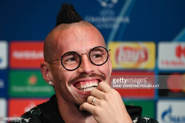 Napoli's Slovakian midfielder Marek Hamsik reacts as he gives a press conference at the Parc des Princes stadium in Paris on October 23 2018 on the...