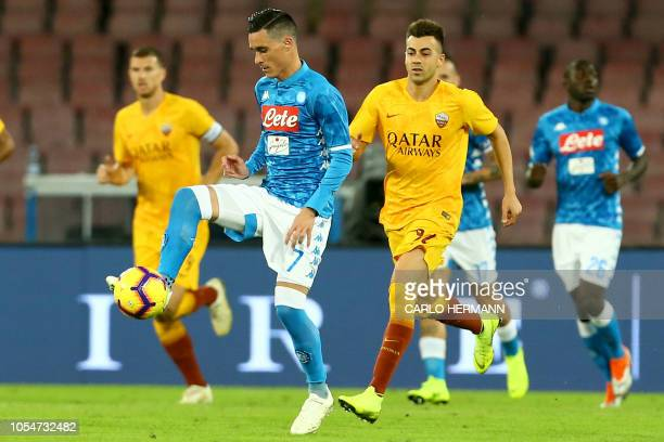 Napoli's Spain striker Jose Maria Callejon controls the ball during the Italian Serie A football match SSC Napoli vs AS Roma on October 28 2018 at...