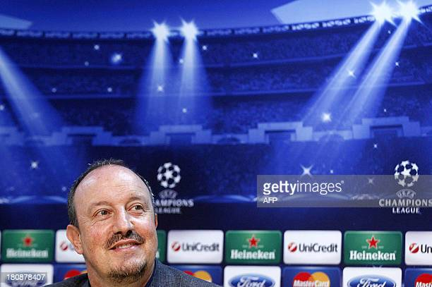 Napoli's Spanish coach Rafael Benitez takes part in a press conference on September 17 2013 on the eve of the Group F Champions League football match...