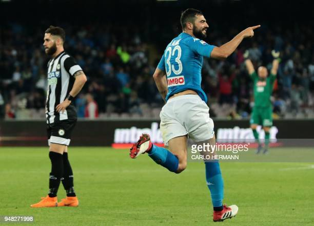 Napoli's Spanish defender Raul Albiol celebrates after scoring a goal during the Italian Serie A football match SSC Napoli vs Udinese Calcio on April...