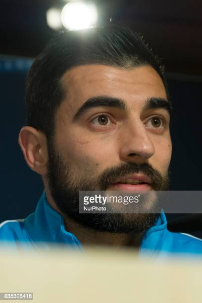 Napoli's Spanish defender Raul Albiol speaks during a press conference at Santiago Bernabeu stadium in Madrid on February 14 on the eve of the UEFA...