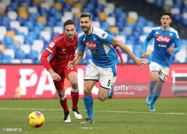 STADIUM NAPLES CAMPANIA ITALY Napoli's Spanish forward Fernando Llorente runs for the ball against Perugia's Italian defender Filippo Sgarbi during...