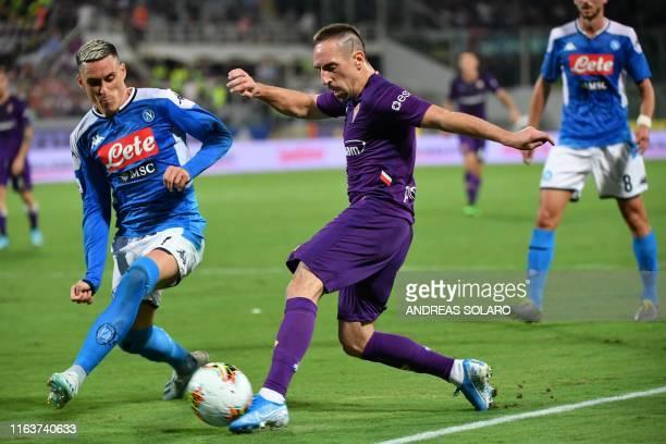 Napoli's Spanish forward Jose Callejon defends against Fiorentina's French forward Franck Ribery during the Italian Serie A football match Fiorentina...