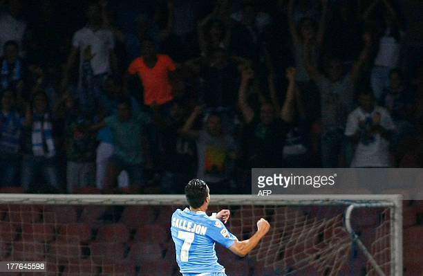 Napoli's Spanish forward Jose Maria Callejon celebrates after scoring during the Italian Serie A football match SSC Napoli vs Bologna FC at San Paolo...