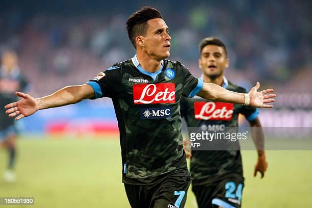 Napoli's Spanish forward Jose Maria Callejon celebrates after scoring during the Italian Serie A football match SSC Napoli vs Atalanta BC in San...