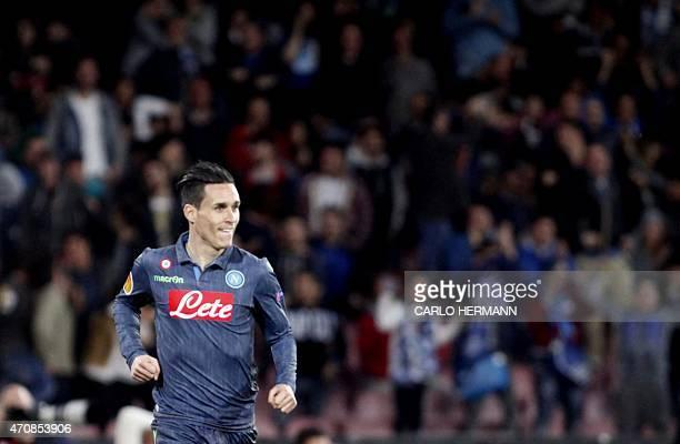 Napoli's Spanish forward Jose Maria Callejon celebrates after scoring a goalduring the UEFA Europa League quarter final second leg football match SSC...