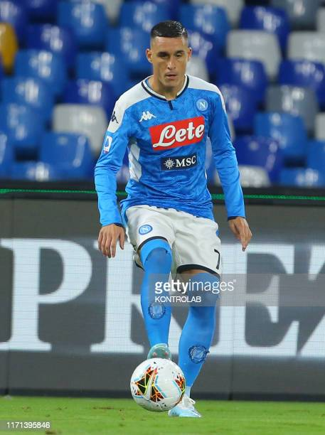 Napoli's Spanish forward Jose Maria Callejon controls the ball during the Italian Serie A football match SSC Napoli vs Cagiari Calcio at the San...