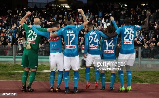 Napoli's Spanish goalkeeper Pepe Reina Napoli's Spanish striker Jose Maria Callejon Napoli's Slovakian midfielder Marek Hamsik Napoli's Italian...