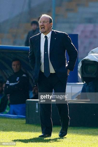 Napoli's Spanish headcoach Rafael Benitez reacts during the Italian Serie A football match SSC Napoli vs UC Sampdoria in San Paolo Stadium on January...