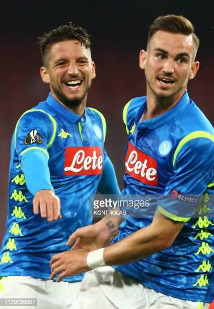 STADIUM NAPLES CAMPANIA ITALY Napoli's Spanish midfielder Fabian Ruiz celebrates with teammate Napoli's belgian striker Dries Mertens after scoring a...