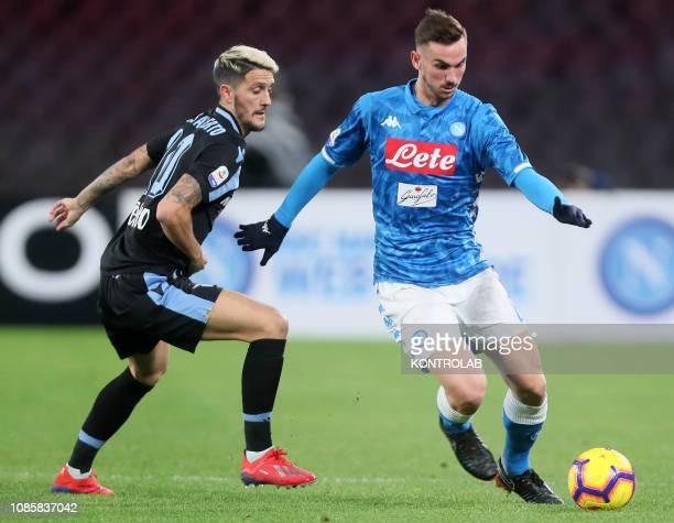 STADIUM NAPLES CAMPANIA ITALY Napoli's Spanish midfielder Fabian Ruiz fights for the ball with Lazio's Spanish midfielder Luis Alberto during the...