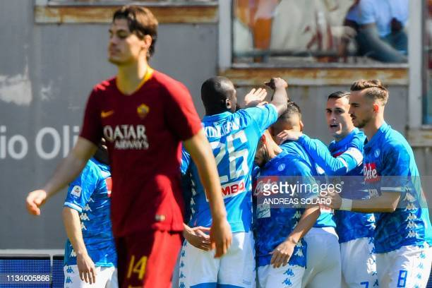 Napoli's Spanish midfielder Fabian Ruiz Napoli's Spanish forward Jose Callejon celebrate after Napoli opebed the scoring during the Italian Serie A...