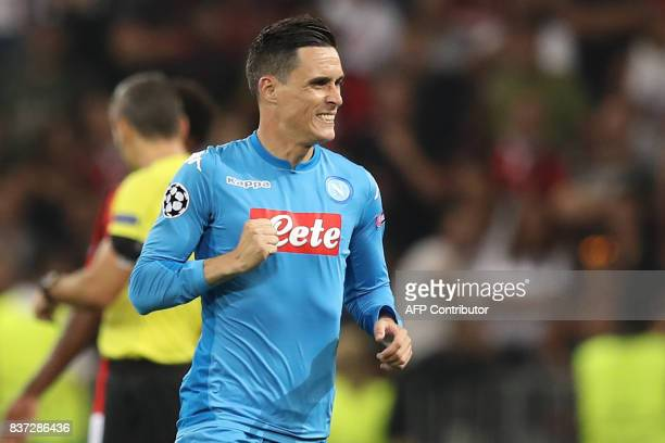 Napoli's Spanish striker Jose Maria Callejon celebrates after scoring a goal during the UEFA Champions League playoff football match between Nice and...