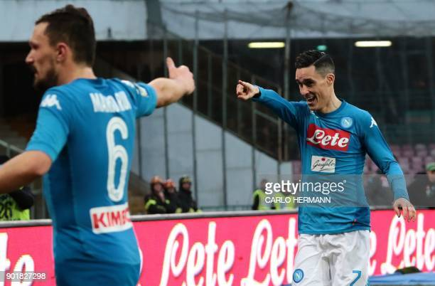 Napoli's Spanish striker Jose Maria Callejon celebrates after scoring during the Italian Serie A football match SSC Napoli vs Hellas Verona FC at the...