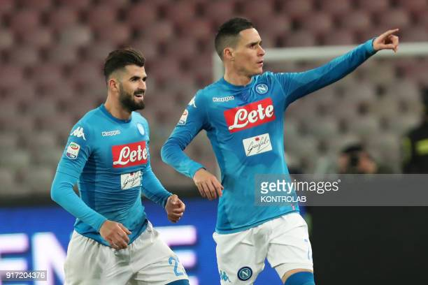 STADIUM NAPLES CAMPANIA ITALY Napoli's Spanish striker Jose Maria Callejon celebrates after scoring with teammate Napoli's Albanian defender Elseid...