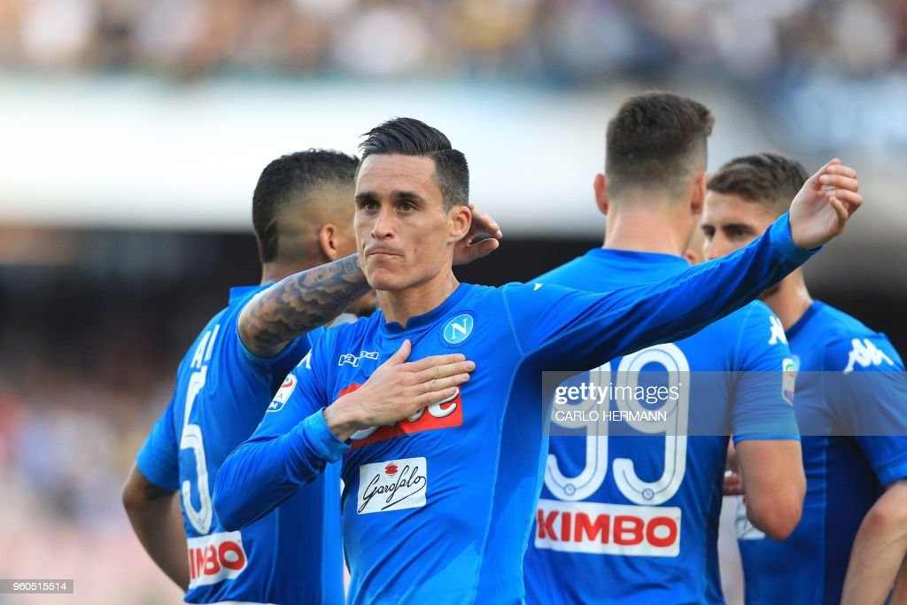 Napoli's Spanish striker Jose Maria Callejon celebrates after scoring during the Italian Serie A football match SSC Napoli vs FC Crotone on May 20, 2018 at the San Paolo Stadium.