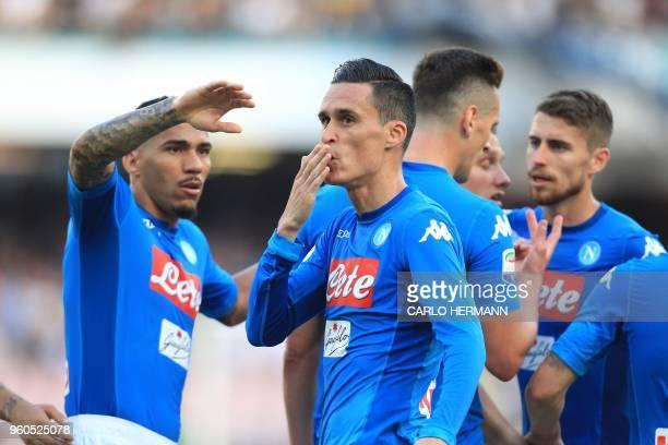 Napoli's Spanish striker Jose Maria Callejon celebrates after scoring during the Italian Serie A football match SSC Napoli vs FC Crotone on May 20...