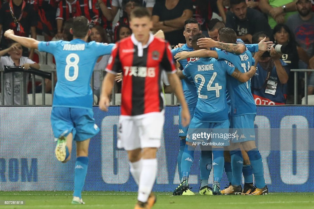 Napoli's Spanish striker Jose Maria Callejon (C) celebrates with teammates after scoring a goal during the UEFA Champions League play-off football match between Nice and Napoli at the Allianz Riviera stadium in Nice, southeastern France, on August 22, 2017. /