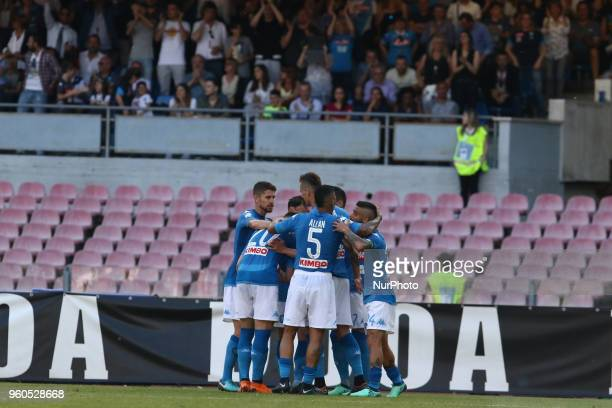 Napoli's Spanish striker Jose Maria Callejon celebrates with teammates after scoring during the Italian Serie A football match SSC Napoli vs FC...
