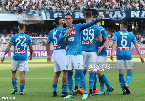 STADIUM NAPLES CAMPANIA ITALY Napoli's Spanish striker Jose Maria Callejon celebrates with teammates after scoring a goal during the Italian Serie A...