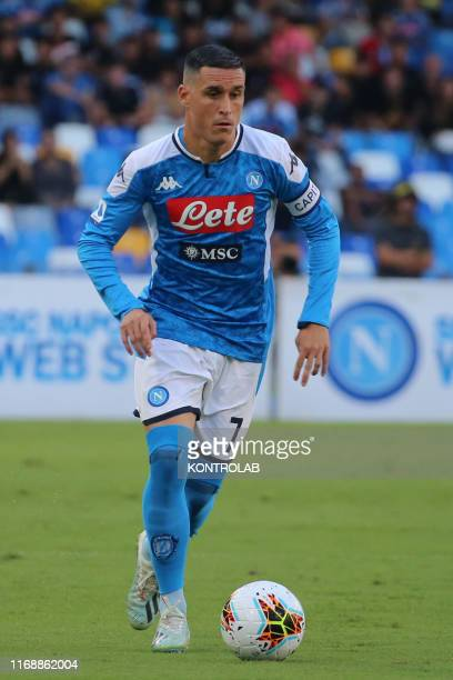 Napoli's Spanish striker Jose Maria Callejon controls the ball during the Italian Serie A football match SSC Napoli vs Uc sampdoria on September 14...