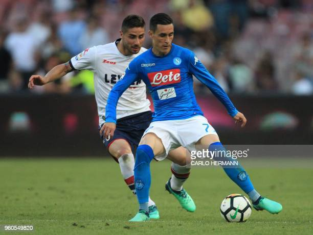 Napoli's Spanish striker Jose Maria Callejon fights for the ball with Crotone's Italian defender Marco Capuano during the Italian Serie A football...