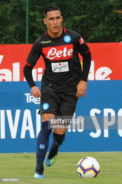 Napoli's Spanish striker Jose Maria Callejon is training during the preseason praparation on July 13 2018 at Carciato pitch