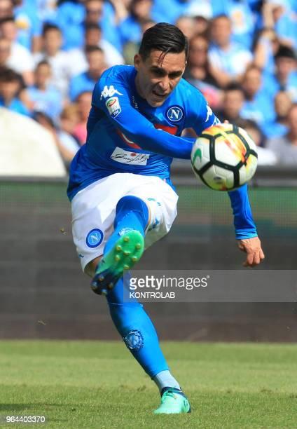 STADIUM NAPLES CAMPANIA ITALY Napoli's Spanish striker Jose Maria Callejon kicks the ball during the Italian Serie A football match SSC Napoli vs...