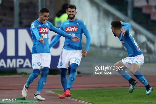 STADIUM NAPLES CAMPANIA ITALY Napoli's Spanish striker Jose Maria Callejon Napoli's Albanian defender Elseid Hysaj and Napoli's Italian striker...