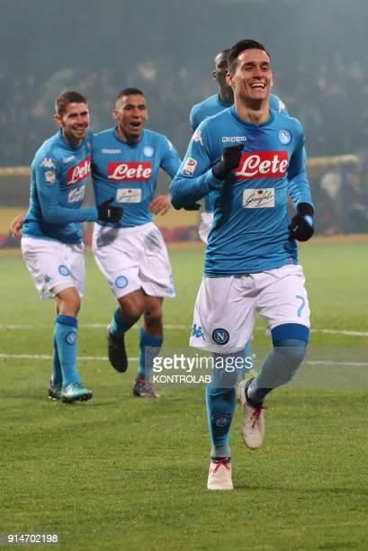 STADIUM BENEVENTO CAMPANIA ITALY Napoli's Spanish striker Jose Maria Callejon Napoli's Italian midfielder Brazilianborn Jorginho and Napoli's...