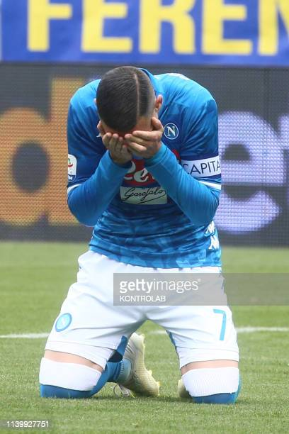 STADIUM FROSINONE LAZIO ITALY Napoli's Spanish striker Jose Maria Callejon reacts after missing a goal during the Italian Serie A football match...