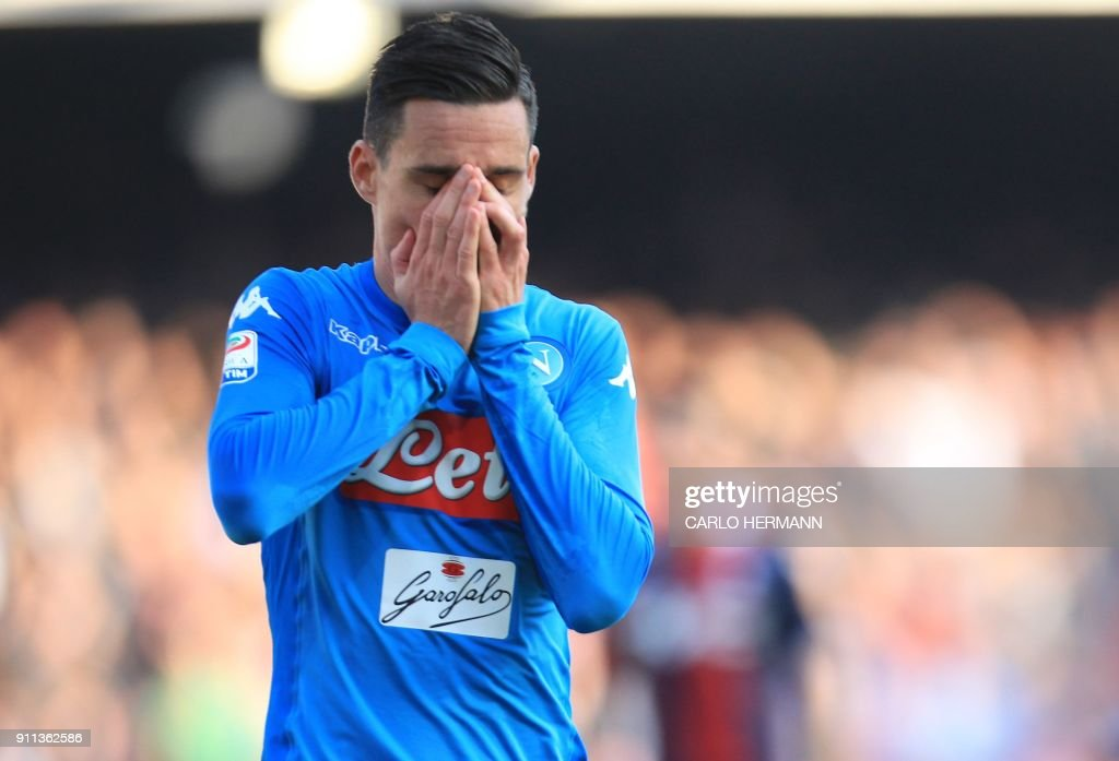 Napoli's Spanish striker Jose Maria Callejon reacts after missing a goal during the Italian Serie A football match SSC Napoli vs Bologna FC 1909 on Jaunary 28, 2018 at the San Paolo Stadium. /