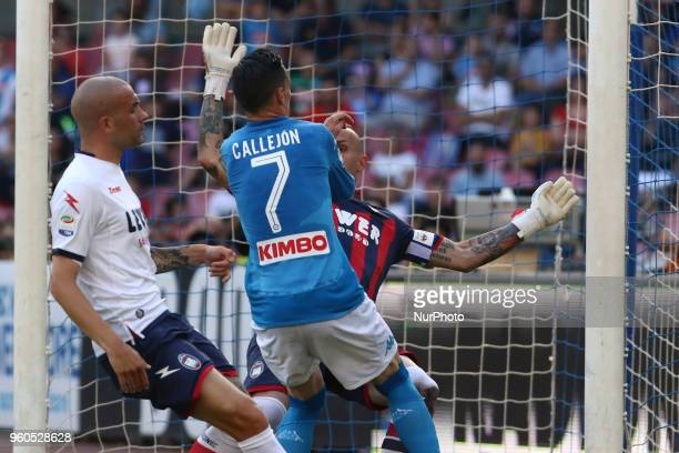 Napoli's Spanish striker Jose Maria Callejon scores a goal during the Italian Serie A football match SSC Napoli vs FC Crotone on May 20 2018 at the...