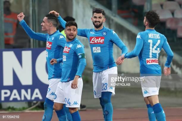 STADIUM NAPLES CAMPANIA ITALY Napoli's Spanish striker Jose Maria CallejonNapoli's Italian striker Lorenzo InsigneNapoli's Albanian defender Elseid...