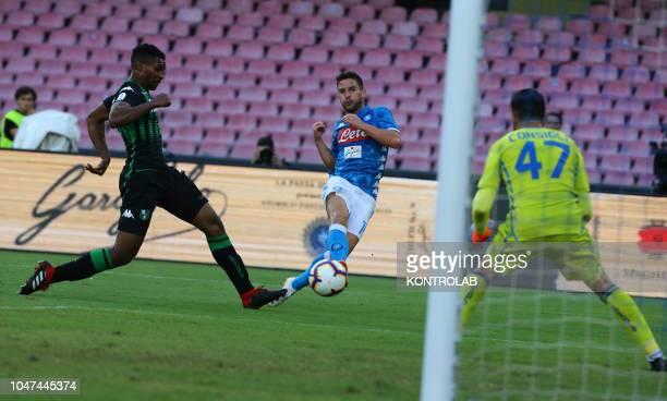 STADIUM NAPLES CAMPANIA ITALY Napoli's striker from Belgium Dries Mertens attempts to score against Sassuolo's Italian goalkeeper Andrea Consigli and...