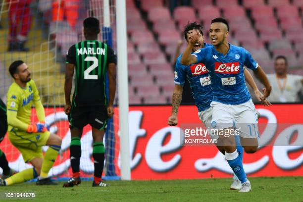 STADIUM NAPLES CAMPANIA ITALY Napoli's striker from France Adam Ounas celebrates after scoring a goal during the Italian Serie A football match SSC...