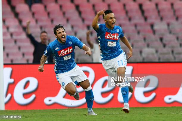 STADIUM NAPLES CAMPANIA ITALY Napoli's striker from France Adam Ounas celebrates with teammate Napoli's striker from Italy Simone Verdi after scoring...