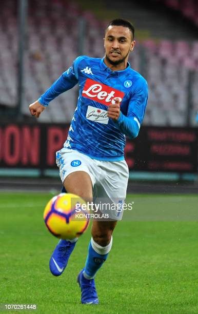 STADIUM NAPLES CAMPANIA ITALY Napoli's striker from France Adam Ounas controls the ball during the Italian Serie A football match SSC Napoli vs...