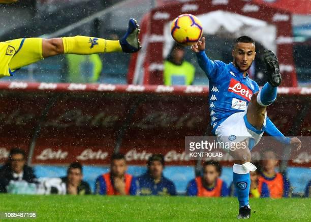 Napoli's striker from France Adam Ounas kicks the ball during the Italian Serie A football match SSC Napoli vs AC Chievo Verona on November 25 2018...