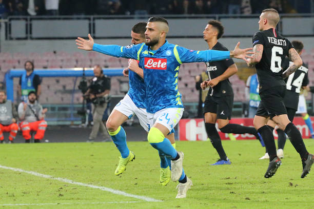 Napoli's striker from Italy Lorenzo Insigne celebrates after...