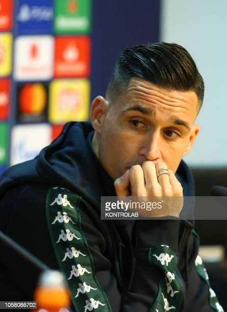Napoli's striker from Spain Jose Maria Callejon looks on during a press conference on the eve of the UEFA Champions League football match SSC Napoli...
