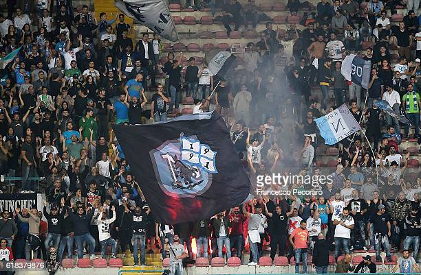Napolis supporters cheer their team during the Serie A match between SSC Napoli and Empoli FC at Stadio San Paolo on October 26 2016 in Naples Italy
