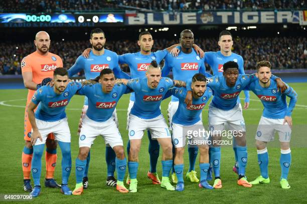 Napoli's team players from top left Napoli's goalkeeper from Spain Pepe Reina Napoli's defender from Spain Raul Albiol Napoli's defender from Algeria...