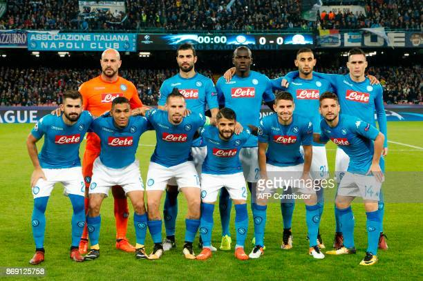 Napoli's team players Napoli's goalkeeper from Spain Pepe Reina Napoli's defender from Spain Raul Albiol Napoli's defender from France Kalidou...