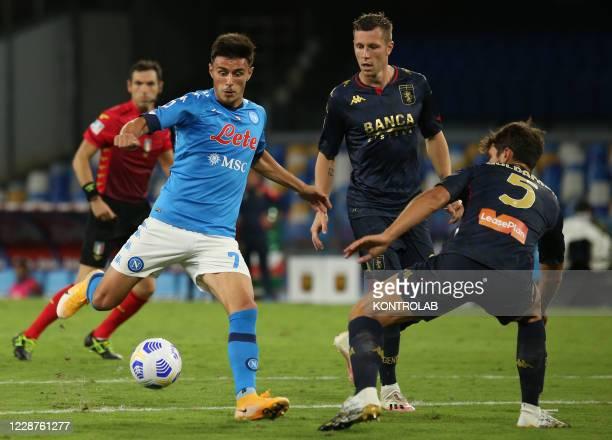 Napoli's Turkish midfielder Eljif Elmas kicks the ball during the Serie A football match SSC Napoli vs Genoa CFC. Napoli won 6-0.