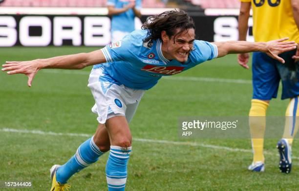 Napoli's Uruguayan forward Edinson Cavani celebrates after scoring a goal during the Serie A football match between SSC Napoli and Pescara Calcio at...
