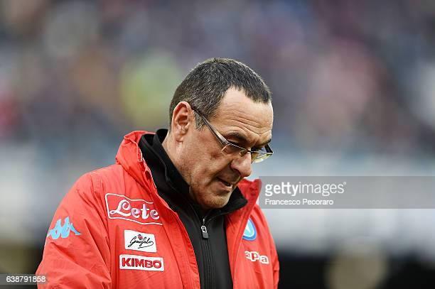 Napoliu0092s coach Maurizio Sarri during the Serie A match between SSC Napoli and Pescara Calcio at Stadio San Paolo on January 15 2017 in Naples...