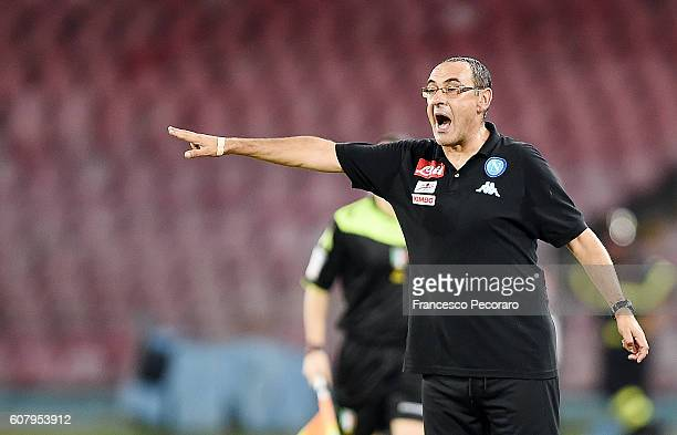 Napoli'u0092s coach Maurizio Sarri gestures during the Serie A match between SSC Napoli and Bologna FC at Stadio San Paolo on September 17 2016 in...